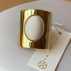 TRINA TURK Gold Tone And  White Agate/Onyx Ring